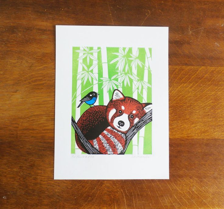 Red Panda and Bird, by Kat Lendacka, Original Linocut Print, Signed Open Edition, Free Postage in UK, Hand Pulled, Printmaking, by KatLendacka on Etsy