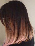 Light Brown, Blonde Ombré - Pink Dip Dye Hair