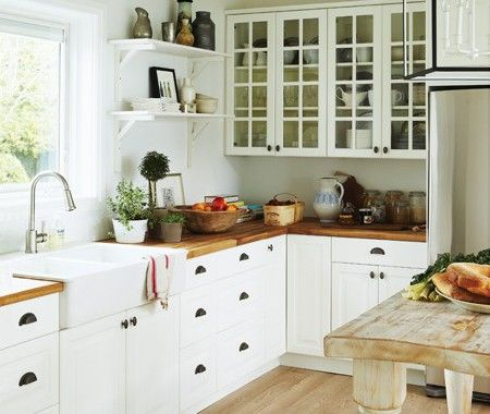 white country kitchen: Woods Counters, Cottages Kitchens, Open Shelves, Butcher Blocks Counters, Farms Sinks, Woods Countertops, Farmhouse Sinks, White Cabinets, White Kitchens