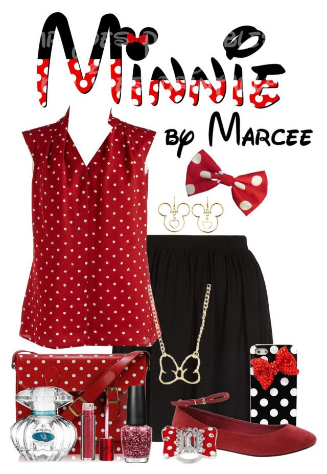 """""""Minnie Mouse DisneyBound"""" by itsactuallyvictoria ❤ liked on Polyvore featuring Topshop, Disney, Lord & Taylor, OPI, ASOS and Lola Cosmetics"""