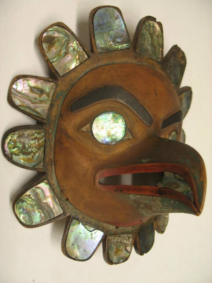A bird mask, wood carved with abalone inlay and black and red pigment.  Collection: The National Museum of the American Indian - New York via Tommy Joseph FB
