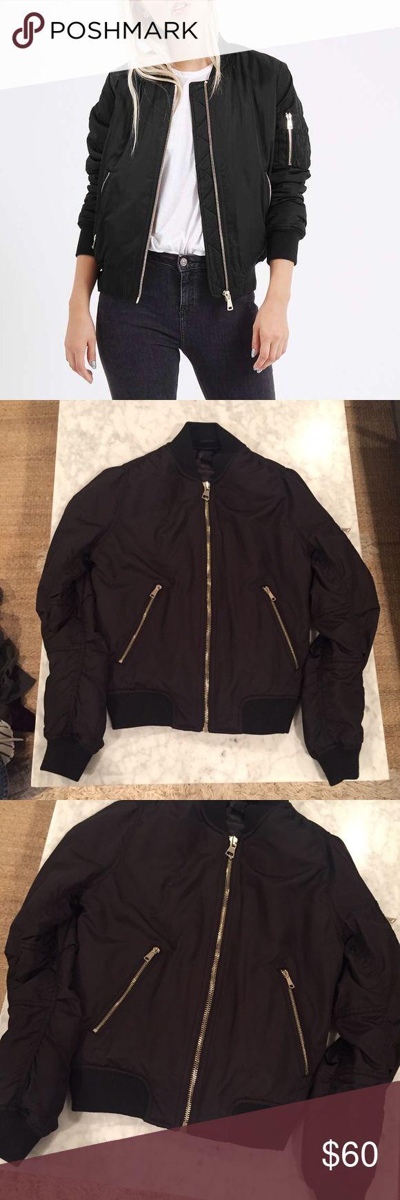 Topshop Black Bomber Jacket Topshop black bomber jacket! Size us 2! 🚫NO TRADES🚫 Topshop Jackets & Coats