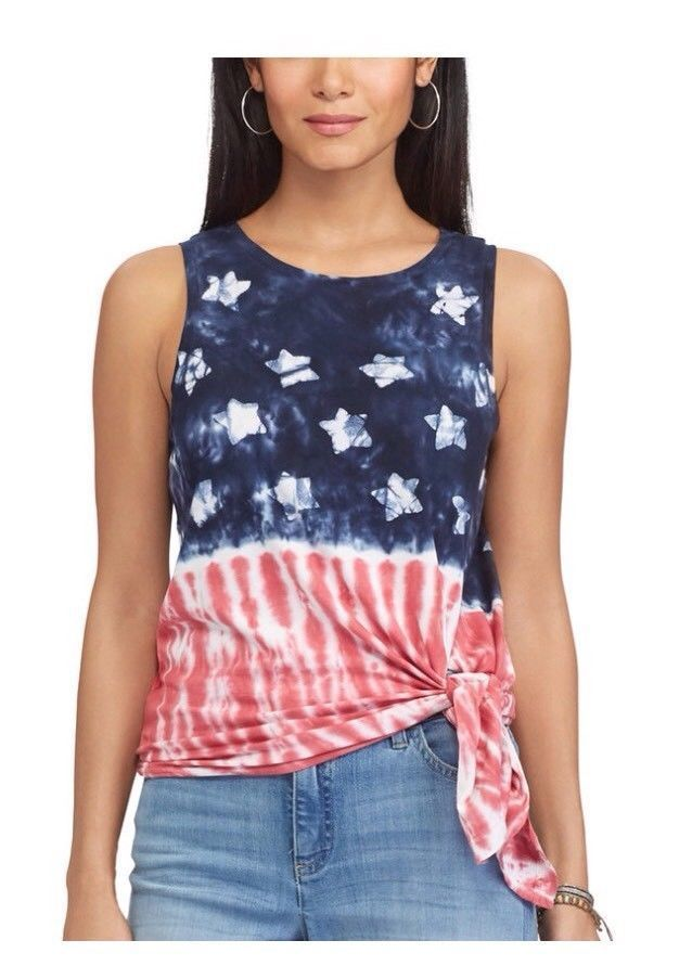 NWT CHAPS Red White Blue Tie-Dye American Flag Graphic Tank MSRP $49  #Chaps #Cami #Casual