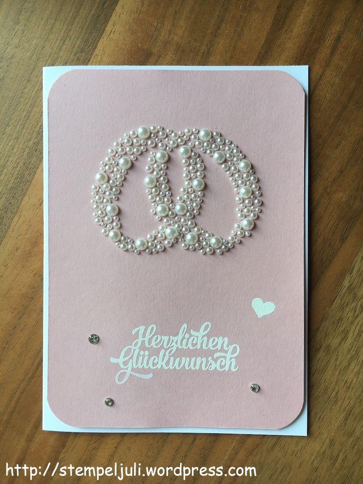 Stempeljuli Karte zur Hochzeit weiss kirschbluete perlen glitzer Herz verschlungene Ringe
