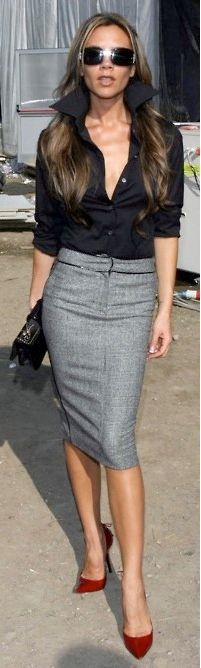 grey pencil skirt - Google Search