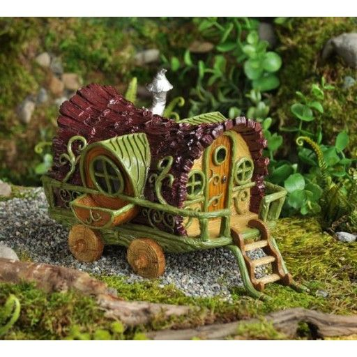 Captivating GEORGETOWN   Fiddlehead Fairy Garden Resin Gypsy Wagon (16693)