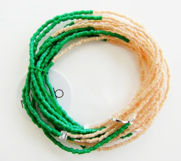 "Set of 10 glass bead stretch bracelets:  glass bead stretch bracelets - set of 10  sterling silver closures - 6 1/4""  $80"