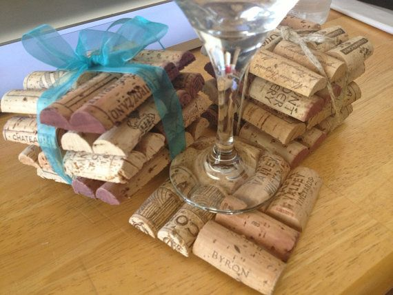 Wine Cork Coasters: I could see Sarah's and my making these for Christmas /craft fairs!