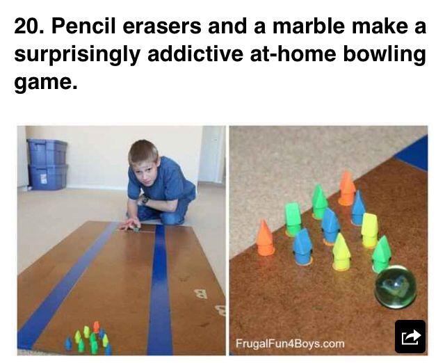 Pencil eraser bowling !