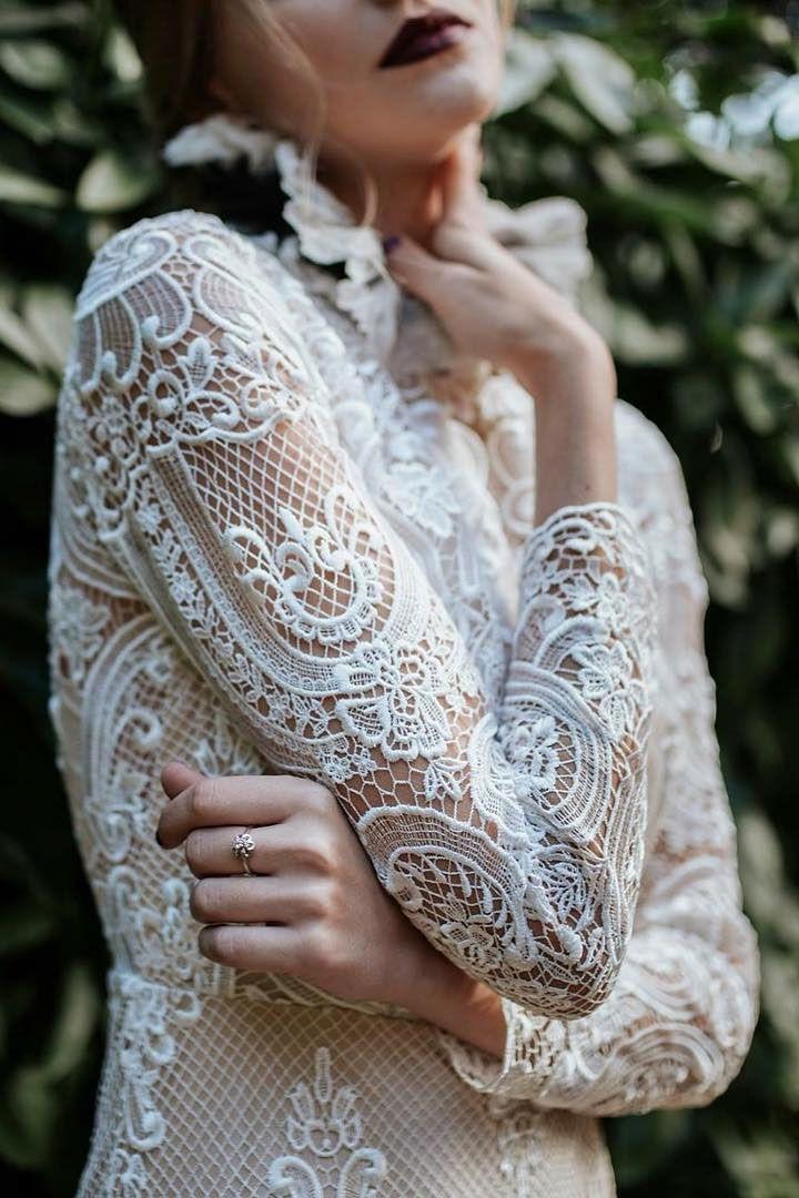 Beautiful long sleeve wedding dress with pretty details #bridal #bohemianweddingdress #vintagestyledweddingdress #summerweddingdress #romanticweddingdress #vintageweddingdress #prettydetails #bohoweddingdress #vintagestyle