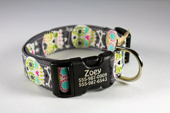 "Laser engraved pet collar-- ""Dia de los Muertos"" with adjustable side-release buckle 1"" wide pet identification collar"