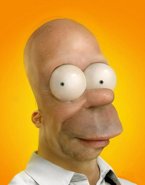 Funny, weird, cool things scattered throughout the interwebular network.: Real Homer, Real Life, The Real, Photo Manipulation, Realistic Cartoon, Homer Simpsons, Cartoon Drawings, Eye Art, Cartoon Character