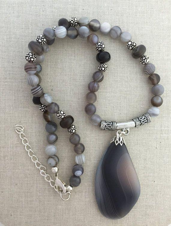 Dark Gray Botswana Agate Pendant Necklace on Beaded by Rock2Gems
