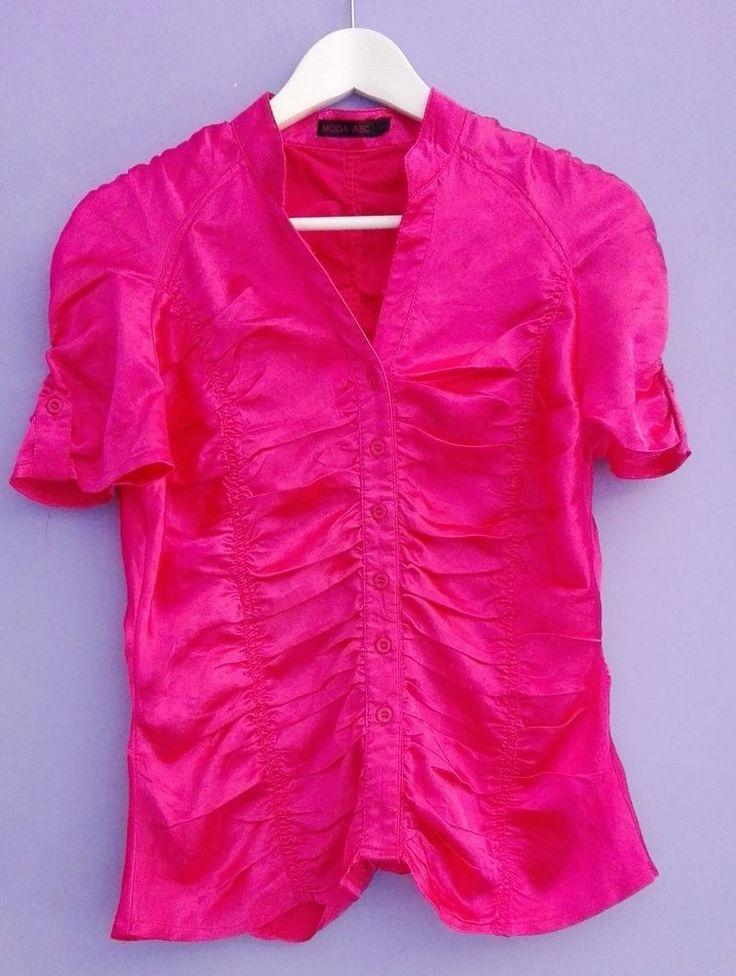 Camicetta donna rosa raso drappeggiata fucsia pink rose manica corta MODA ABC
