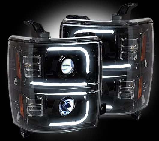 RECON OLED Halo / DRL Projector Headlights 2014-2015 Chevy Silverado (Smoked)