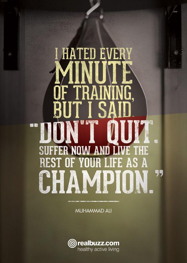 Muhammad Ali sporting motivational quote