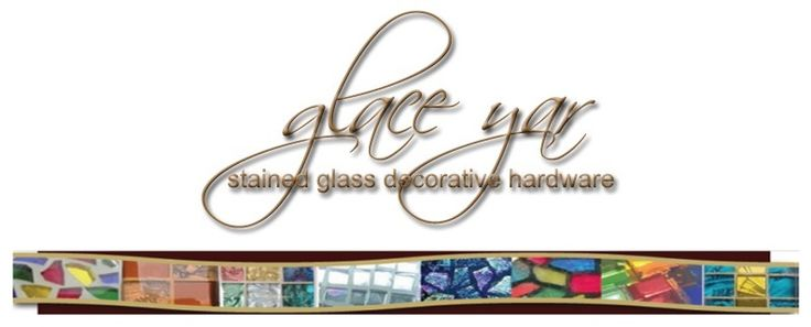 Glace Yar makes beautiful stained glass decorative hardware by hand using a variety of our knob and pull bases. Really beautiful work and even glass knobs with 24k gold!
