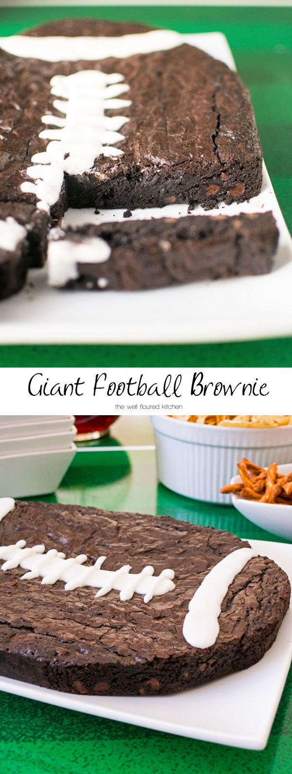 Thick and fudgy giant brownie shaped and decorated as a football for your next game day party!
