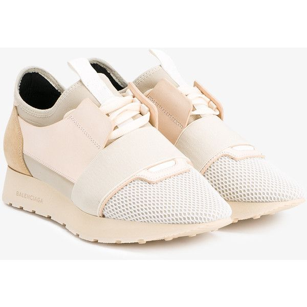 BALENCIAGA Low Top Race Runner Trainers ($515) ❤ liked on Polyvore featuring shoes, sneakers, balenciaga trainers, leather trainers, leather shoes, lace up flat shoes and elastic shoes