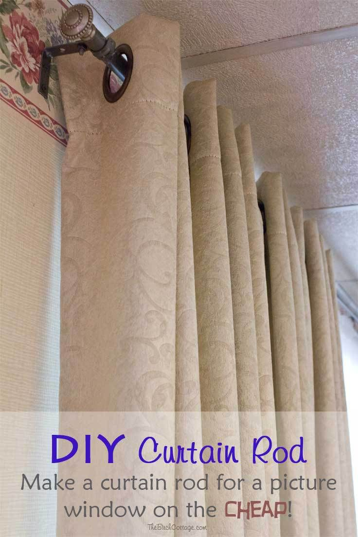 Diy Curtain Rod For A Large Picture Window On The Cheap