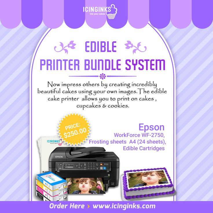 Have you seen our new range of Edible printers? We're now selling the Epson Edible-Printer-2750 a compact printer, scanner, copier with a back feed!!! An edible printers dream