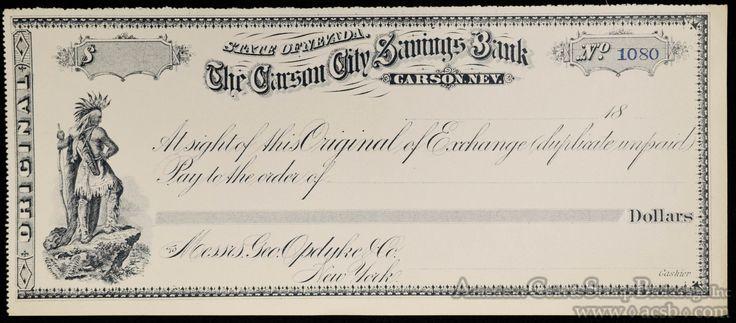 Obsolete Bank Check Blank Carson City Savings Bank Sate of Nevada NV Nice-SR