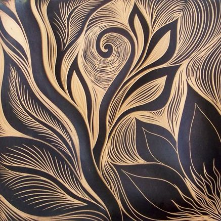 Nature inspired hand carved ceramic tiles from Natalie Blake Studios