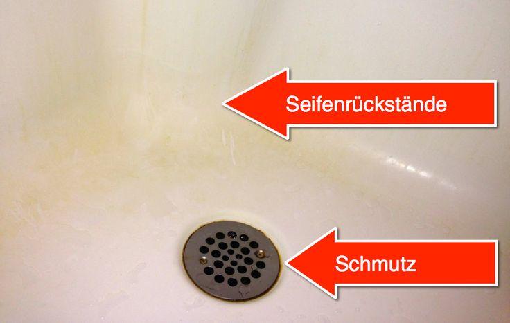 Mühelos Dusche & Wanne reinigen – so geht´s!  Schritt 1: Hartnäckige Flecken  1. Backpulver und warmes Wasser zu Brei verrühren 2. Auf verschmutze Flächen auftragen und einwirken lassen 3. Mit einer alten Zahnbürste unzugängliche Stellen bearbeiten  Schritt 2: Grundreinigung  1. Warmes Wasser 2. + Spülmittel 3. + Zitronensaft oder Essig 4. Mit Sprühflasche oder einem Lappen auftragen und abduschen