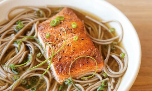 Soba Noodles and Seared Salmon in Ginger-Green Onion Broth | Recipe