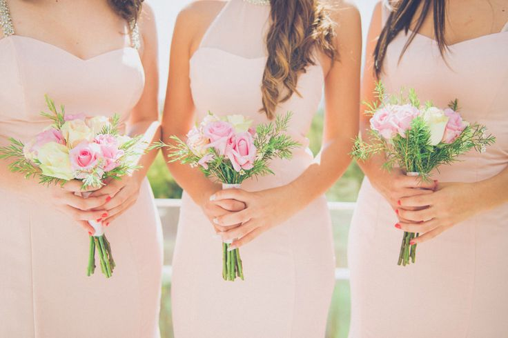 Pink Bridesmaids Dresses with Pink & White Rose Bouquets | Destination Wedding In Portugal | Pastel Colour Scheme | Stylish Bride And Groom | Wedding Tattoos Instead Of Rings | Photography By Adriana Morais Fotografia | http://www.rockmywedding.co.uk/rita-joao/