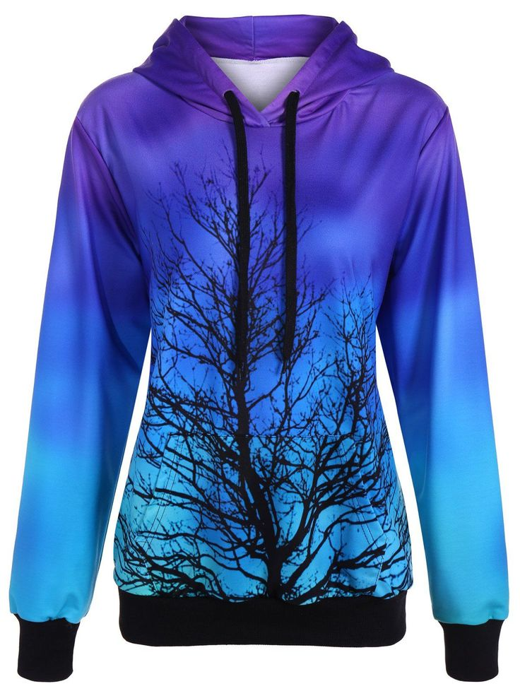 $22.97 Tree Ombre Color Pullover Hoodie in Purple | Sammydress.com