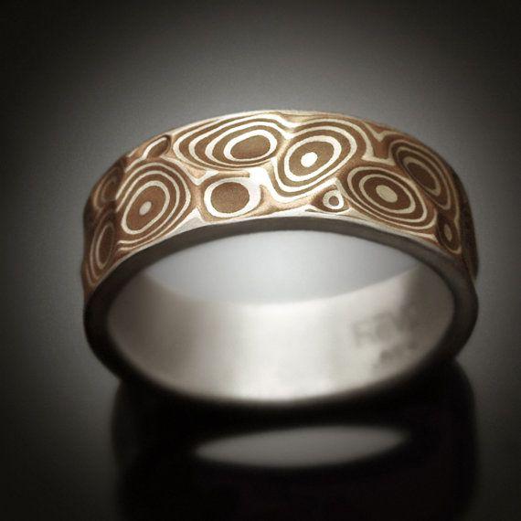 Mokume gane Men's ring  Copper Canyon  Argenitum silver by Revonav, $290.00
