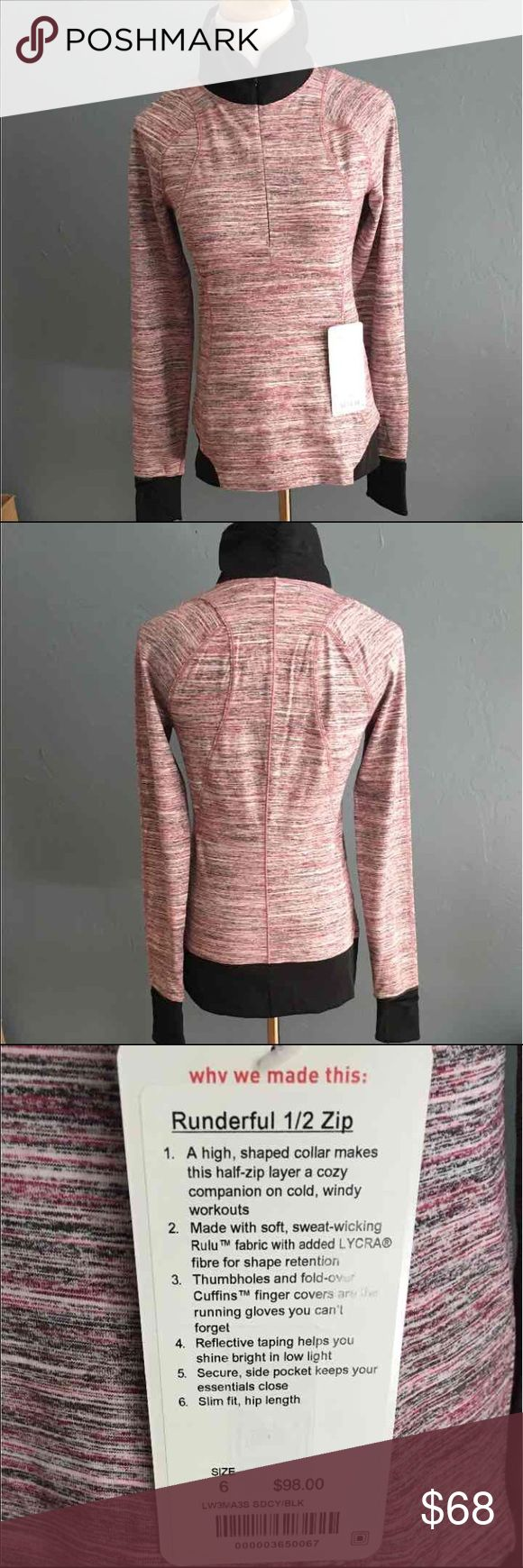 Lululemon Runderful 1/2 zip 6 New with tags, without  flaws! Happy shopping! lululemon athletica Tops Tees - Long Sleeve