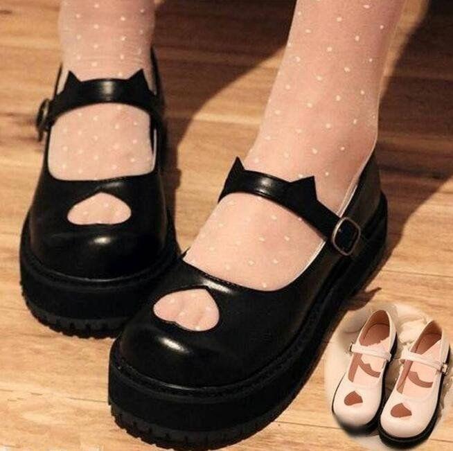 "Japanese sweet lolita cat ear platform shoes    Coupon code ""cutekawaii"" for 10% off"