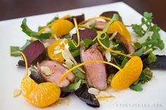 Warm Duck Salad With Roasted Beetroot recipe | This is one of our favourite ways to eat duck. Perfectly cooked duck breasts with some juicy sweet beetroot and some oranges and greens, tossed with an easy peasy orange vinaigrette. It's super easy to put together and is very impressive laid out on a plate. - Foodista.com