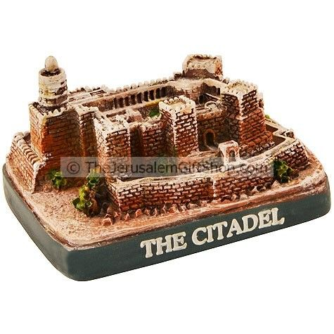 Small but very detailed mini ornament of The Tower of David Citadel located next to Jaffa Gate inside the Old City walls of Jerusalem.  Size: 1.8 x 1.5 inches.  Shipped to you direct from the Holy Land.