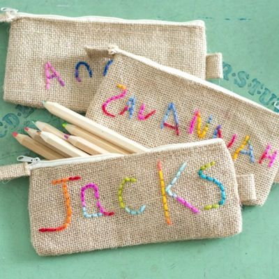 Jacks and Kate embroidered burlap pencil pouch