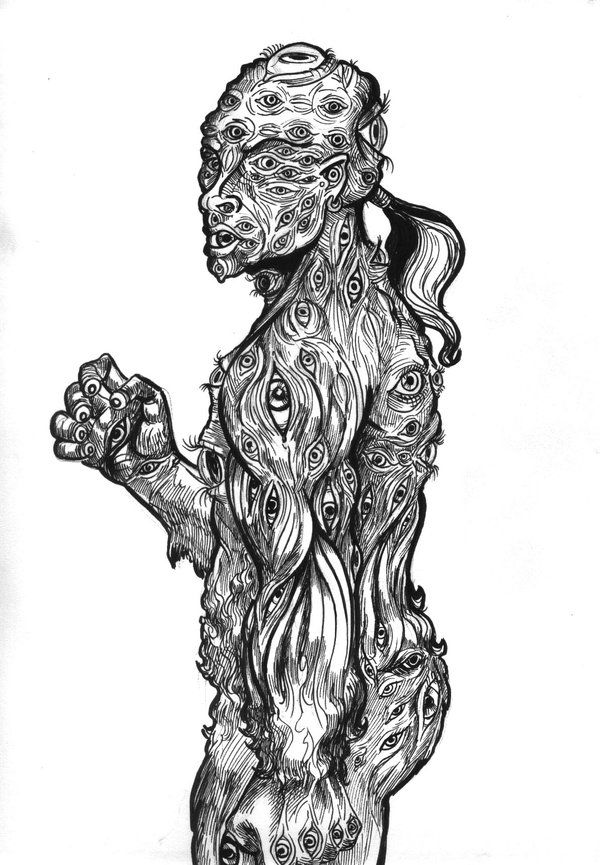 """""""Argus,"""" pen and ink, by Scott Woodard, StrangeView Studios. Argus Panoptes, the…"""