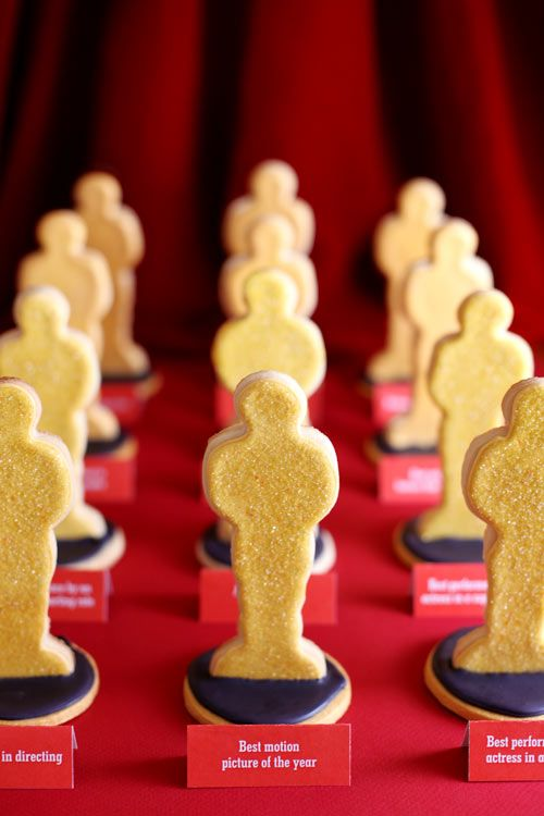 Oscar CookiesSugar Cookies, Theme Parties, Oscars Parties, Oscars Cookies, Hollywood Parties, Awards Night, Parties Ideas, Academy Awards, Oscar Party
