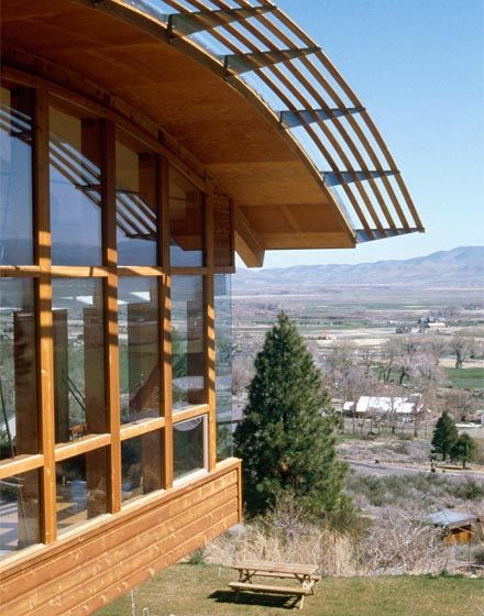 Nevada House, The Manser Practice #house #nevada #wood #timber #cantilever #view #curved #curvy #roof #glulam