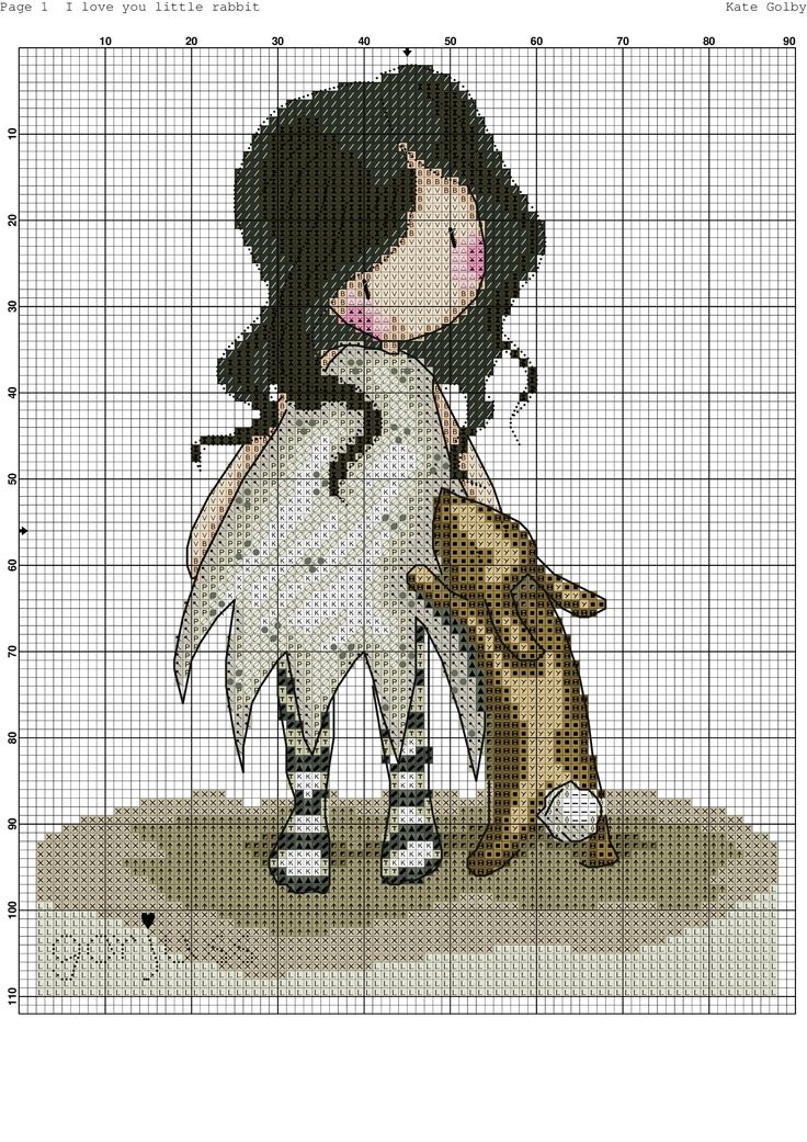 Little girl and bunny. Cross stitch pattern