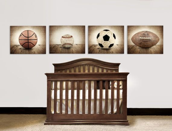 Set of Four Canvases  Ready to Hang, Vintage Single Baseball On Barnwood, Soccer, Football and Basketball on Etsy, $199.00