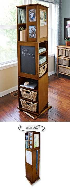 Unique organizer for small spaces. OMG i so need this. Wonder if one could anchor an alReady existing shelf to a lazy Susan hmmm