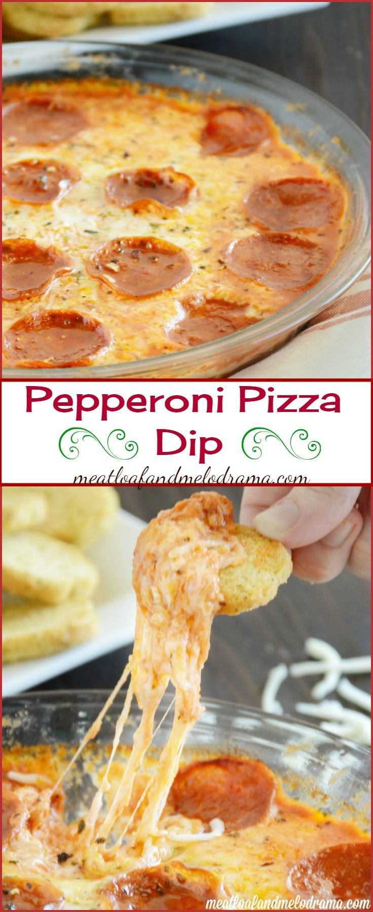 Pepperoni Pizza Dip -- This cheesy dip recipe is super easy and makes a great snack or game day appetizer! #gamedayfood #partyfood