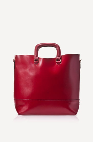 Red shopper with tacks.... goes well with dark winter clothes!