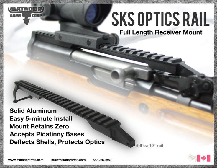 Matador SKS Full Length Optic Rail Mount    Turn your SKS into a tactical rifle. The SD Rail enhances your SKS, enabling you to mount any sight package on to the conventional SKS. Unique dual mount d
