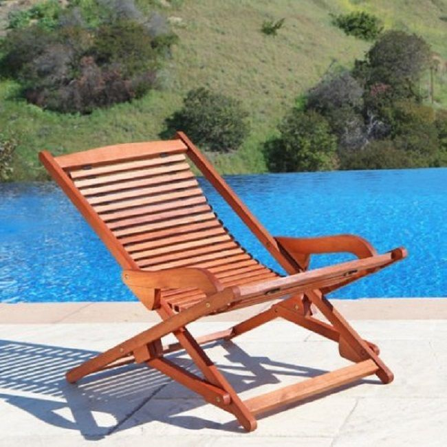 Folding Patio Chaise Lounge Chair Outdoor Pool Beach Yard Furniture Wood Brown #Vifah #Transitional
