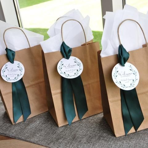 Wedding Guest Gift Bag for Hotel. Guest Favor Bags. Brown Paper Bags with Handle. Wedding Favor Bag. Br8KFT