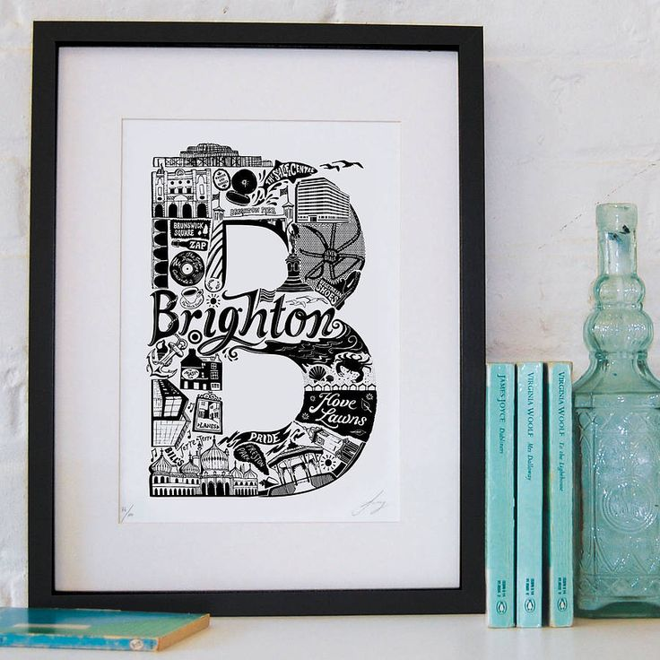 This quirky and detailed print lets you dip your toes in the sea before taking you on a tour of Brighton's most recognisable buildings.This print is available in black. It is part of a series of monochrome prints, each dedicated to a different city. Other cities currently available are: Berlin, Cambridge, Edinburgh, Leeds, London, Manchester, New York, Norwich, Paris and Sydney. Also available is a range of prints called the London Letters, where each print showcases a different area of the…