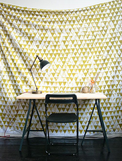 Or just give off a wallpaper effect, with this geometric wall hanging. | 28 Decorating Tricks To Brighten Up Your Rented Home